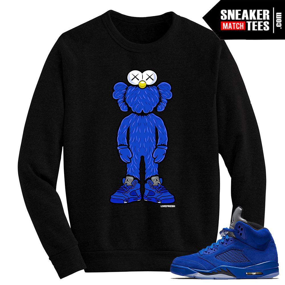 9baa876567a082 Blue Suede 5 Live Fresh Kaws Black Crewneck Sweater