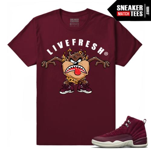 Bordeaux 12 Jordan Maroon T shirt