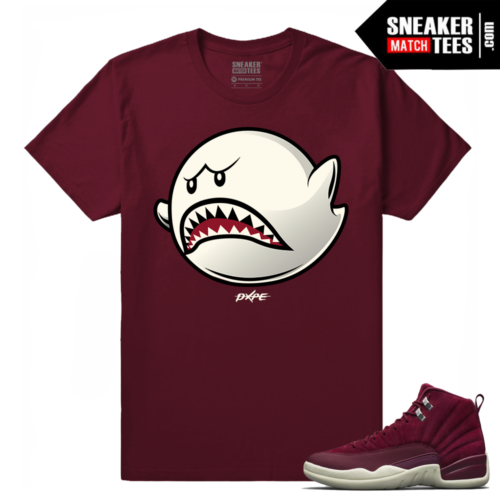 Air Jordan 12 Bordeaux Boo Shark Maroon T shirt