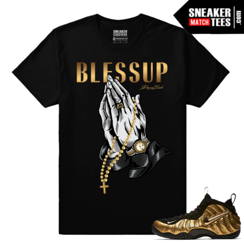 Gold Foamposites Bless Up Streetwear Black T shirt