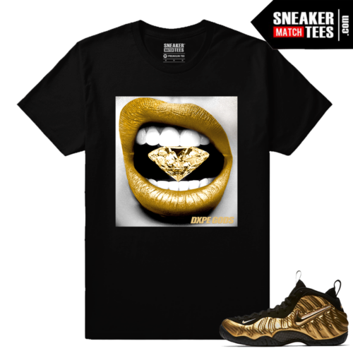 Gold Foamposites Diamond lips black sneaker tees