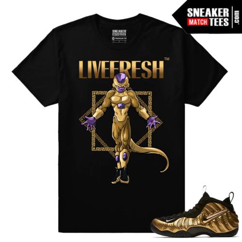 Gold Foamposites Gold Freiza Black T shirt