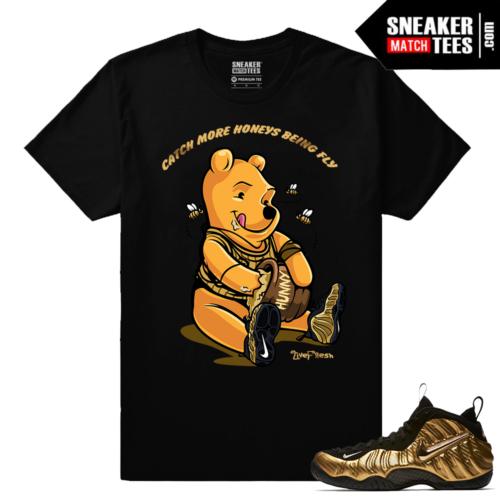 Gold Foamposites More Honeys Black Sneaker tees