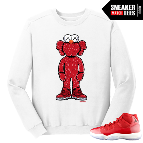 Jordan 11 Win like 96 Gym Red Kaws Elmo White Crewneck Sweater