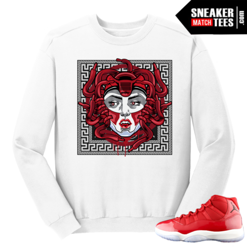 Jordan 11 Win like 96 Gym Red Medusa XI White Crewneck Sweater