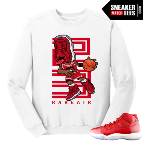 Jordan 11 Win like 96 Gym Red Sneakerhead White Crewneck