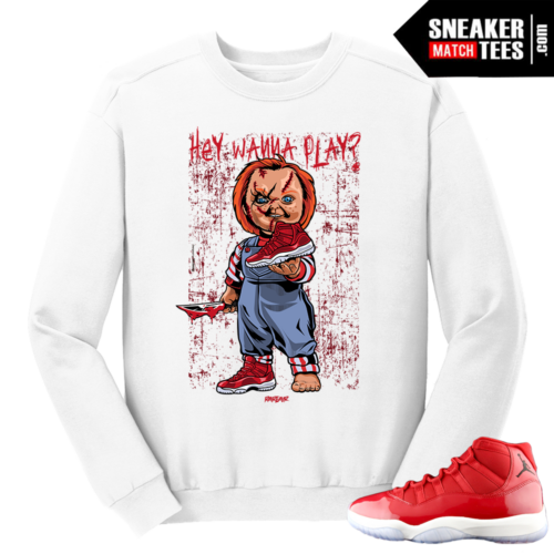 Jordan 11 Win like 96 Gym Red Wanna Play White Crewneck Sweater