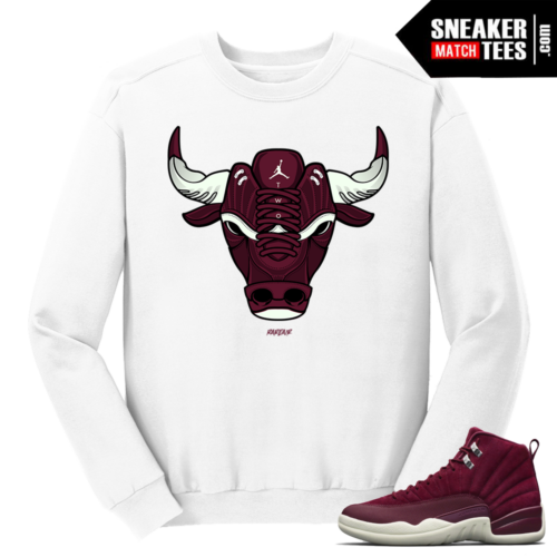 Jordan 12 Bordeaux Bull White Crewneck Sweater