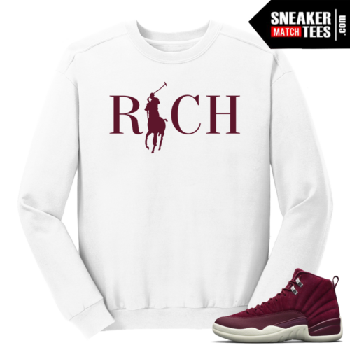 Jordan 12 Bordeaux Country Club Rich White Crewneck Sweater