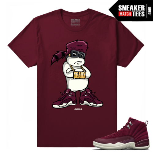 Jordan 12 Bordeaux Dough Boy Fresh Maroon T shirt