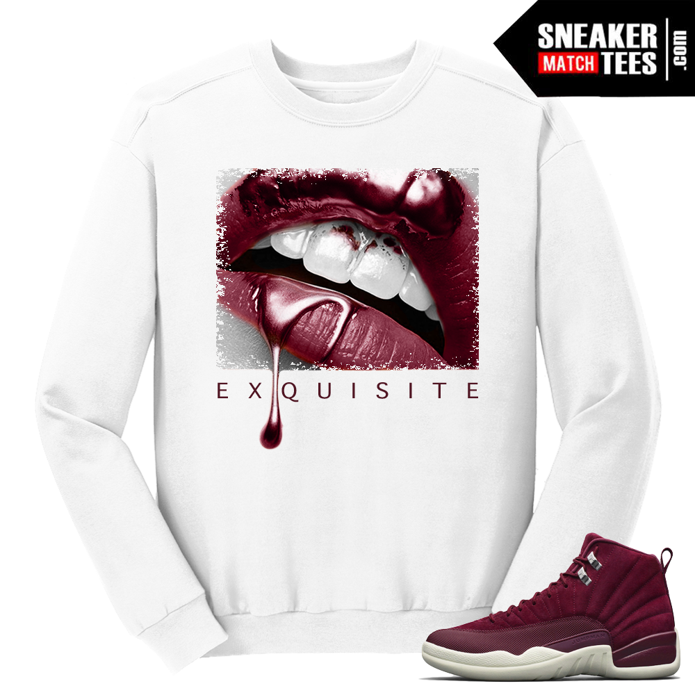 Jordan 12 Bordeaux Exquisite Lips White Crewneck Sweater