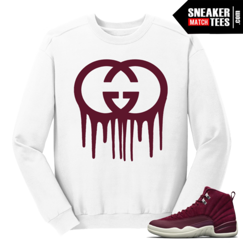 Jordan 12 Bordeaux Gucci Drip White Crewneck Sweater