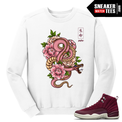 Jordan 12 Bordeaux Japanese Snake White Crewneck Sweater