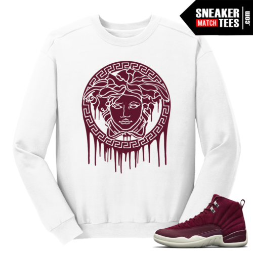 Jordan 12 Bordeaux Medusa Drip White Crewneck Sweater