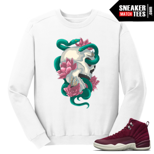 Jordan 12 Bordeaux Serpent Skull White Crewneck Sweater