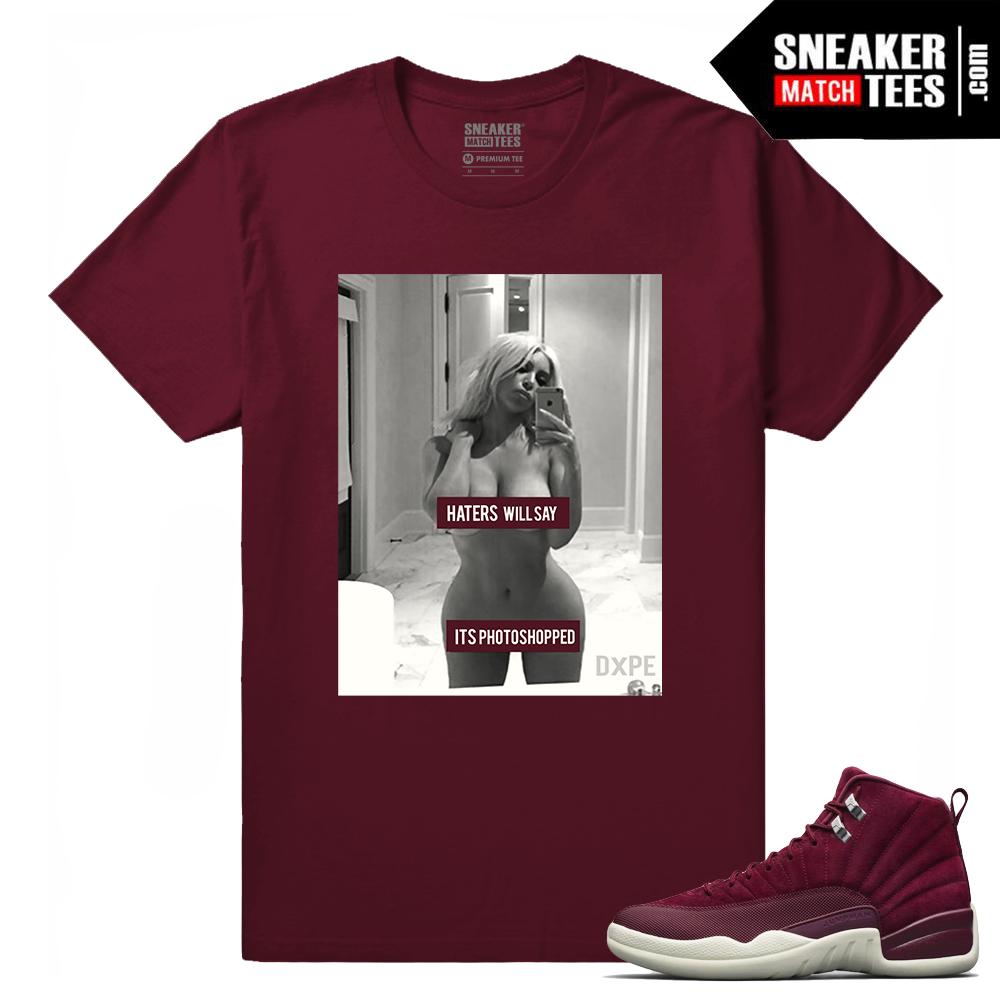 Jordan 12 Bordeaux Sneaker Tees Outfit - Sneaker Match Tees