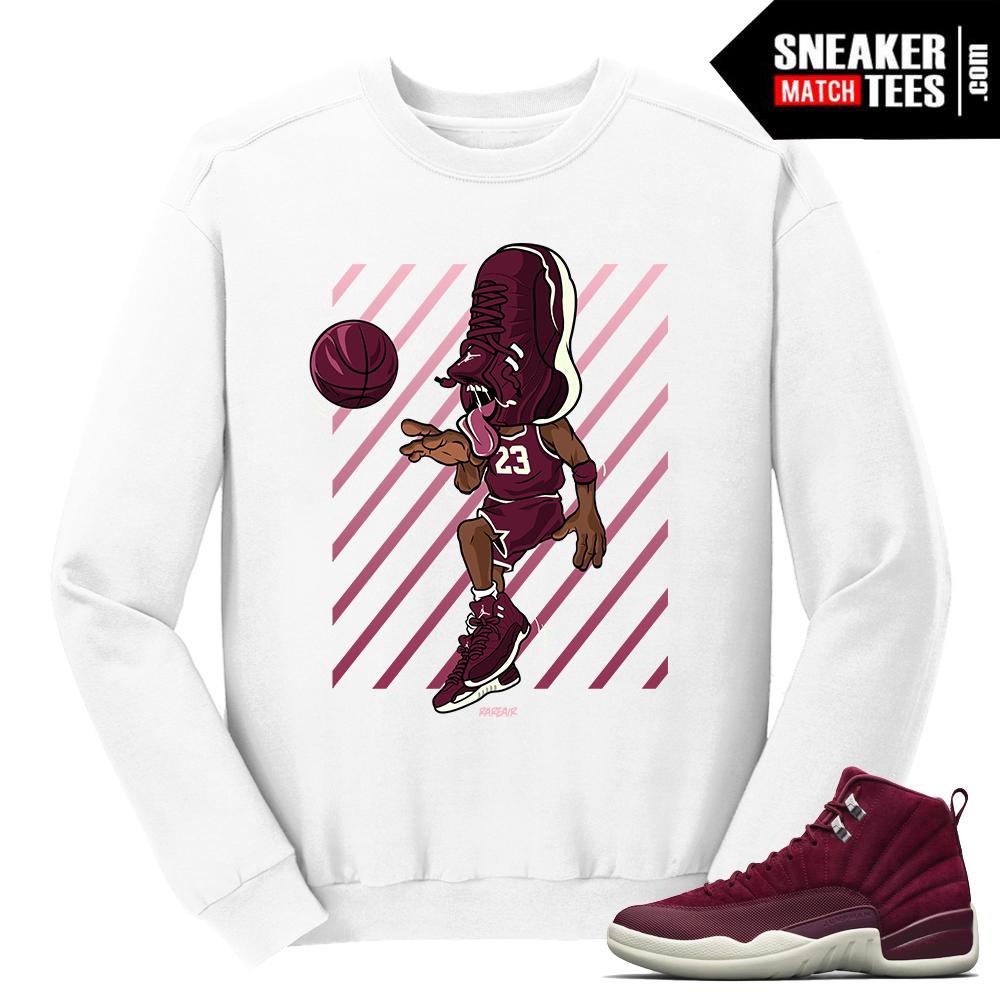84f104ce092344 Jordan 12 Bordeaux Sneakerhead 12 White Crewneck Sweater