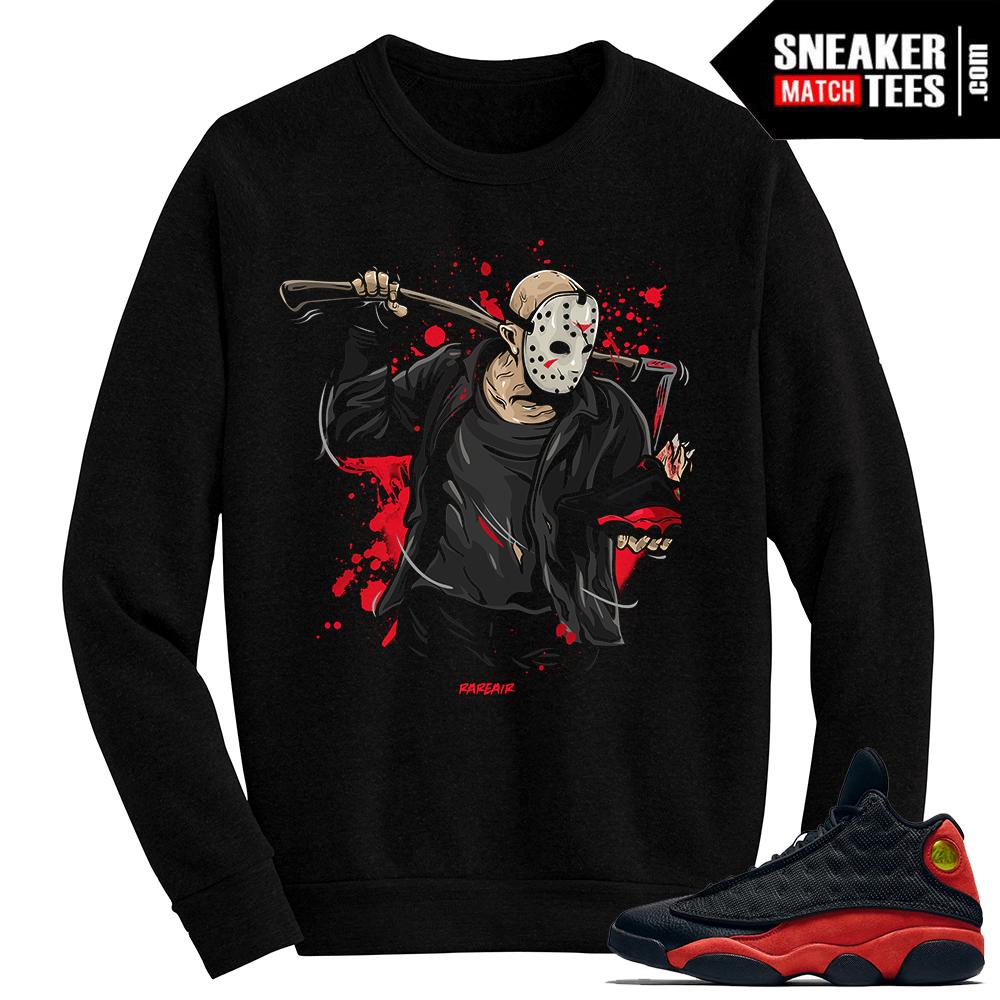 6f2290d284f Jordan 13 Bred Jason Friday the 13th Black Crewneck Sweater