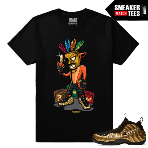 Metallic Gold Foamposites Crash Bandicoot Black Sneaker tees