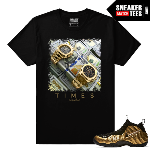 Nike Foamposite Gold Time Is Money Black T shirt