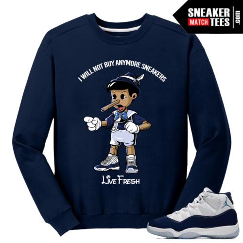 Jordan 11 Midnight Navy Crewneck Sweater Navy Pinocchio
