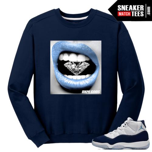 Jordan 11 Midnight Navy Crewneck Sweater Diamond Lips