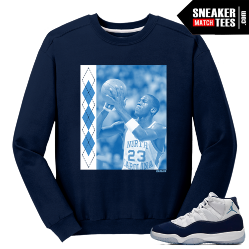 Jordan 11 Midnight Navy Crewneck Sweater UNC MJ