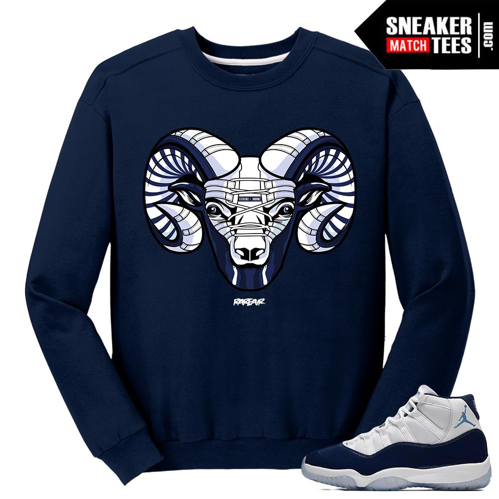 bdf962d9c Jordan 11 Midnight Navy Crewneck Sweater UNC Ram 11 Rufnek Hardware Swish  Over ...