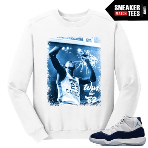 Jordan 11 Midnight Navy Crewneck Sweater White Victory