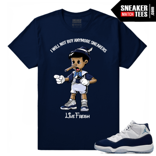 Jordan 11 Midnight Navy T shirt Live Fresh Pinocchio