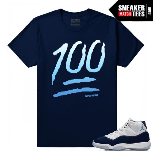 Jordan 11 Midnight Navy T shirt One Hundred