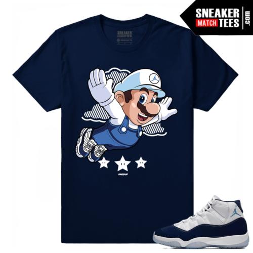 Jordan 11 Midnight Navy t shirt Fly Mario
