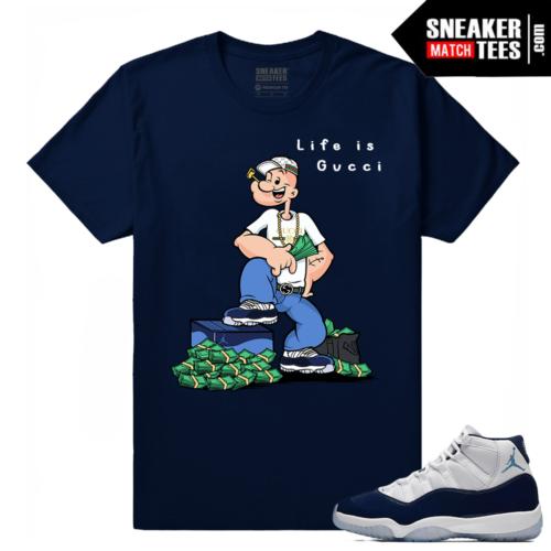 Jordan 11 Midnight Navy t shirt Life Is Gucci