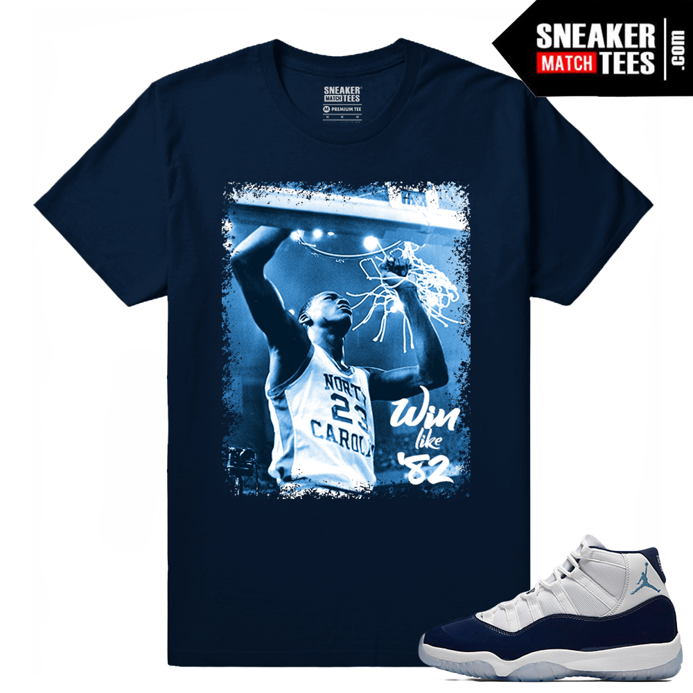 d454372f3ca Jordan 11 Navy T shirt Win Like 82 - Sneaker Match Tees