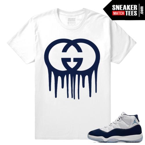 Jordan 11 Sneaker tees Midnight Navy White Gucci Drip