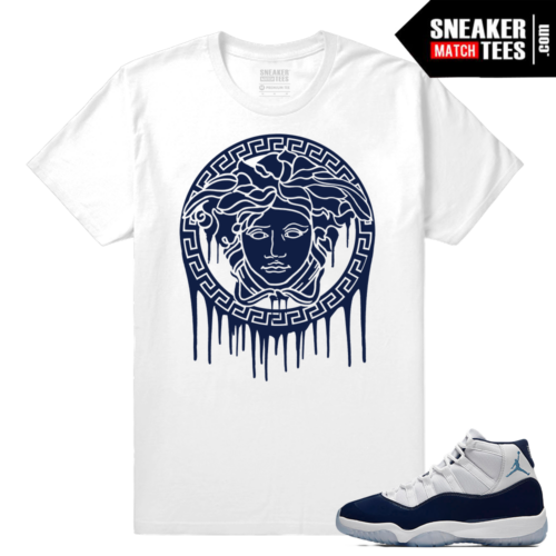 Jordan 11 Sneaker tees Midnight Navy White T shirt Medusa Drip
