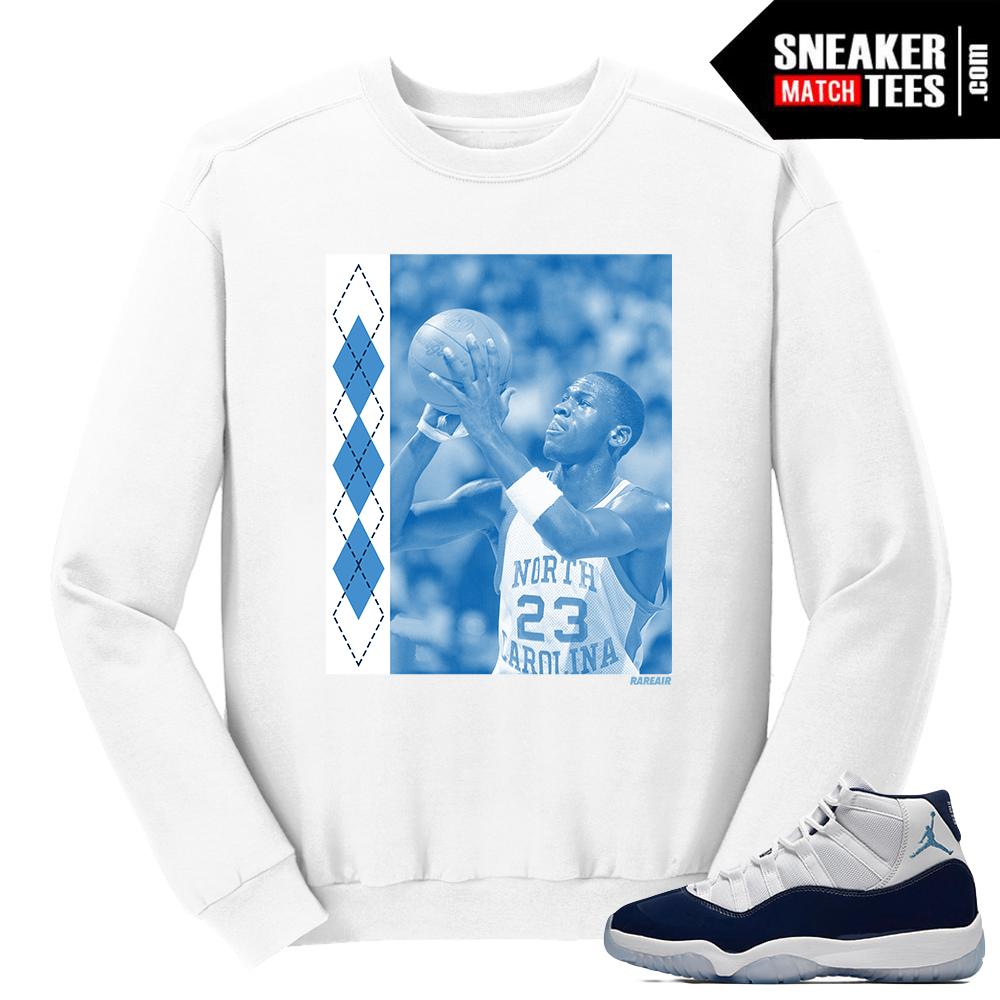 reputable site 2d864 1d6a4 ... Jordan 11 Win like 82 White Crewneck UNC MJ - SneakerMatchTees.com ...