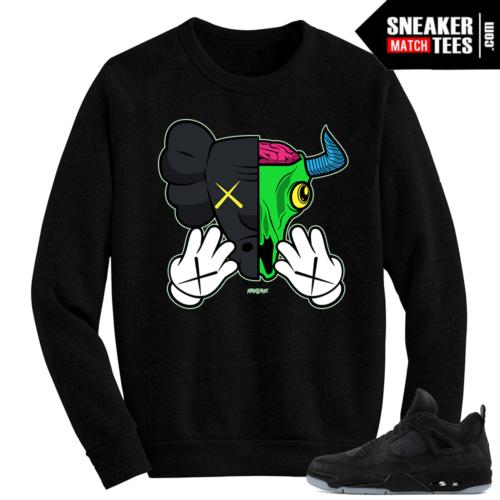 Kaws Jordan 4 Black Crewneck Sweater Kaws Bull
