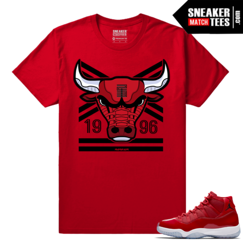 Jordan 11 Win Like 96 Gym Red T shirt Rare Air Bull