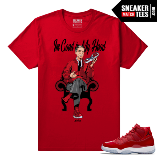Jordan 11 Win Like 96 Sneaker tees Red Mister Rogers Im Good