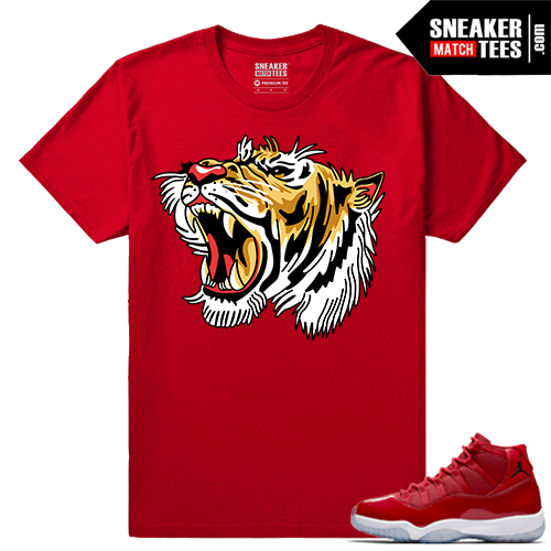Jordan 11 Win Like 96 Sneaker tees Red Tigers Roar