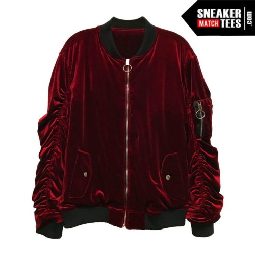 Bomber Jacket Velour Burgandy