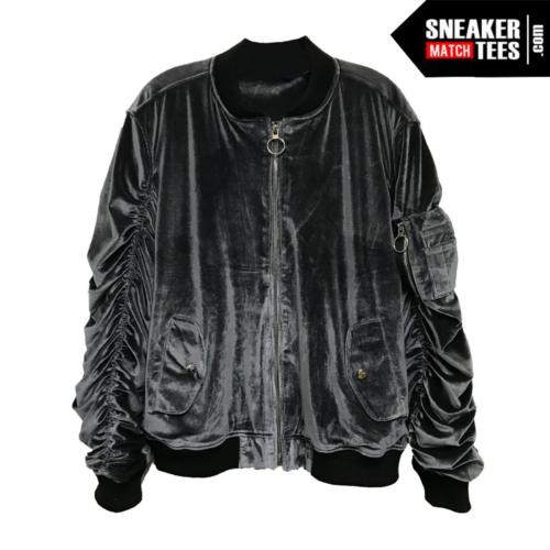 Bomber Jacket Velour Silver