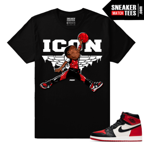 Jordan 1 Bred Toe Sneaker tees Black ICON