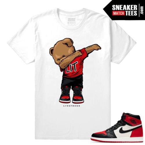 Jordan 1 Bred Toe Sneaker tees White Dabbin Polo Bear