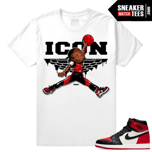Jordan 1 Bred Toe Sneaker tees White ICON