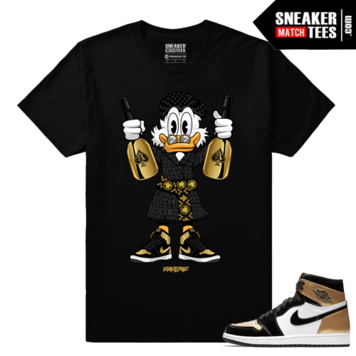 Jordan 1 Gold Toe NRG Sneaker tees Black Bottle Poppin