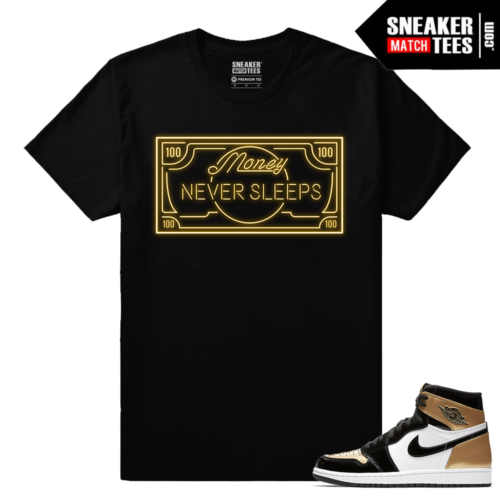 Jordan 1 Gold Toe NRG Sneaker tees Black Money Never Sleeps
