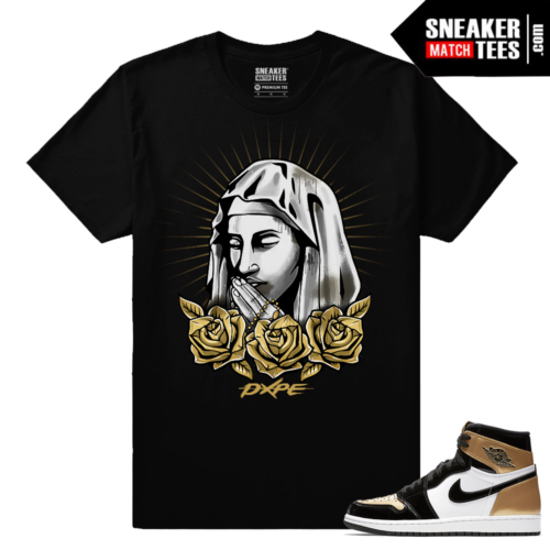 Jordan 1 NRG Gold Toe Sneaker tees Black Gold Roses Mary
