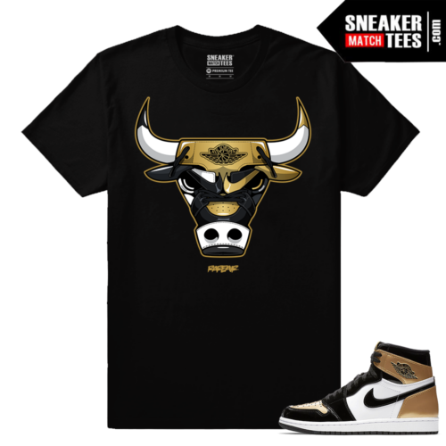 Jordan 1 NRG Gold Toe Sneaker tees Black Gold Toe Bull